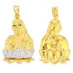 22ct Yellow Gold & CZ Stones Pendant – Shirdi Sai Baba Design 1/3 Matt 2/3 Polished 01 1