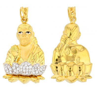 22ct Yellow Gold & CZ Stones Pendant – Shirdi Sai Baba Design 1/2 Matt/Polished 01