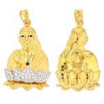 22ct Yellow Gold & CZ Stones Pendant – Shirdi Sai Baba Design 2/3 Matt 1/3 Polished 01 1