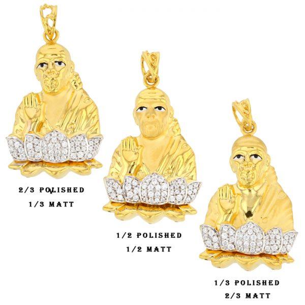 22ct Yellow Gold & CZ Stones Pendants - Shirdi Sai Baba Design Bundle 01