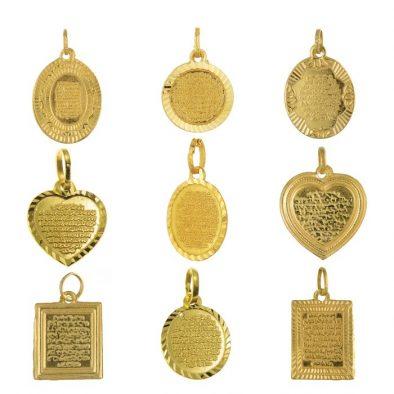 22ct Yellow Gold Pendant – Atal Kursi Design / Mixed Shape Bundle 02