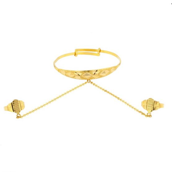 22ct Yellow Gold Baby Bangle with Rings (Adjustable) 01