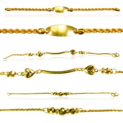 22ct Yellow Gold Baby Bracelets - Mixed Design Bundle 01