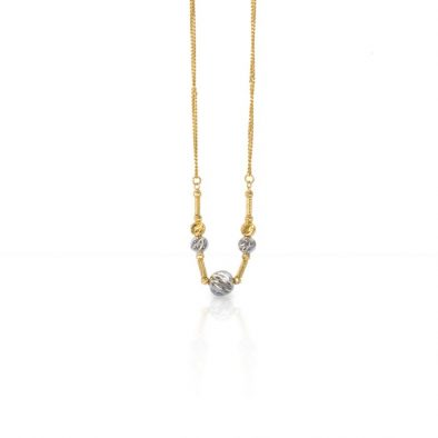 22ct Yellow Gold & Rhodium Fancy Ball Necklace 01