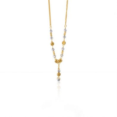 22ct Yellow Gold & Rhodium Fancy Ball Necklace 03