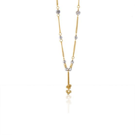 22ct Yellow Gold & Rhodium Fancy Ball Necklace 04