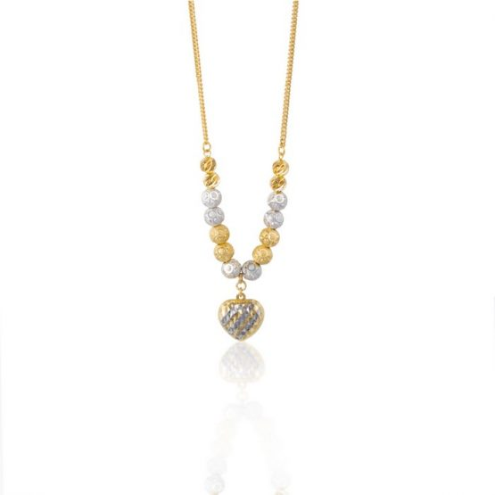 22ct Yellow Gold & Rhodium Fancy Ball Necklace 05