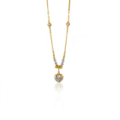 22ct Yellow Gold & Rhodium Fancy Ball Necklace 06