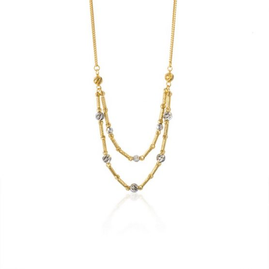 22ct Yellow Gold & Rhodium Fancy Ball Necklace 07