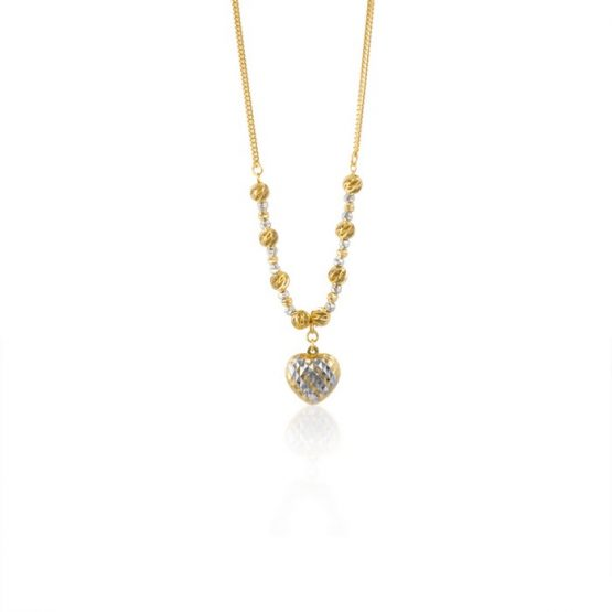 22ct Yellow Gold & Rhodium Fancy Ball Necklace 08