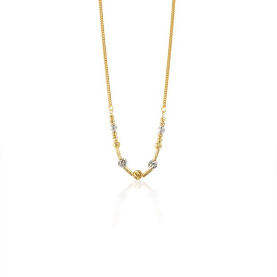 22ct Yellow Gold & Rhodium Fancy Ball Necklace 09