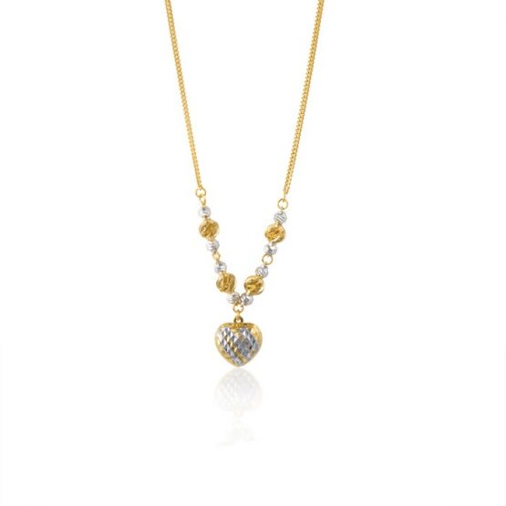 22ct Yellow Gold & Rhodium Fancy Ball Necklace 10
