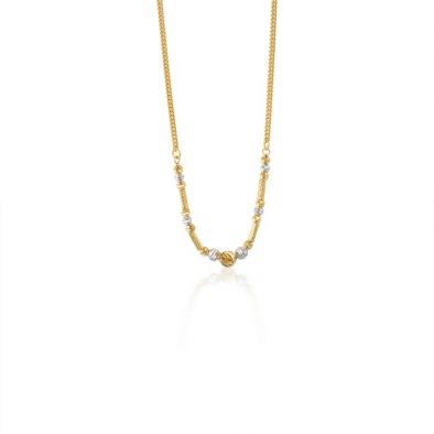 22ct Yellow Gold & Rhodium Fancy Ball Necklace 11