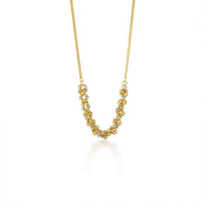 22ct Yellow Gold & Rhodium Fancy Ball Necklace 12