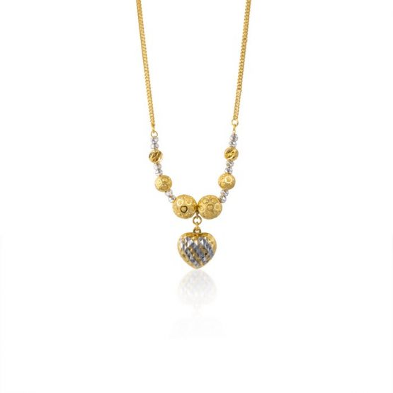 22ct Yellow Gold & Rhodium Fancy Ball Necklace 13
