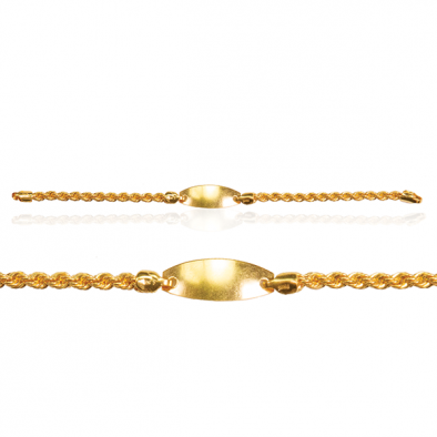 22ct Yellow Gold Baby Bracelet with Plate Hollow Style 01