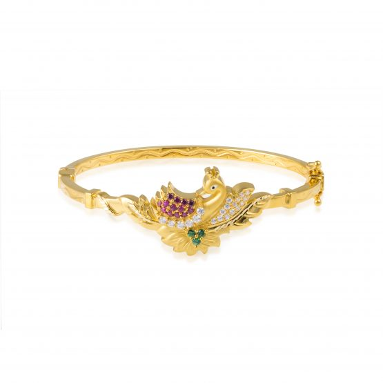 Ladies Clasp Bangle – Peacock Design 22ct Yellow Gold With CZ Stones 01