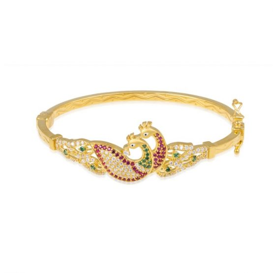 Ladies Clasp Bangle – Peacock Design 22ct Yellow Gold With CZ Stones 08