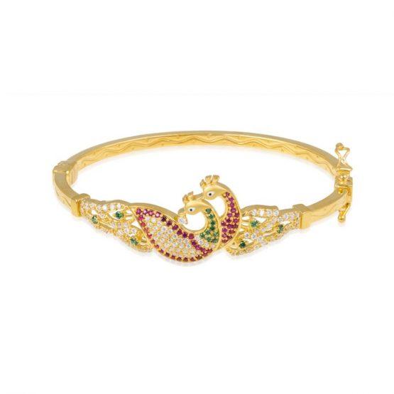 Ladies Clasp Bangle – Peacock Design 22ct Yellow Gold With CZ Stones 08