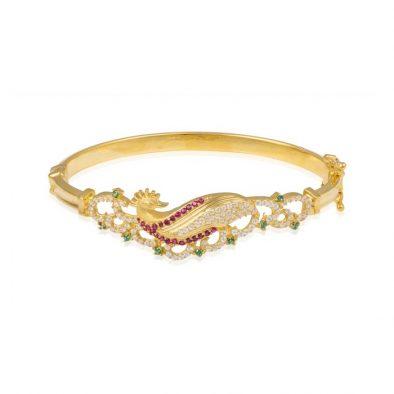 Ladies Clasp Bangle – Peacock Design 22ct Yellow Gold With CZ Stones 09