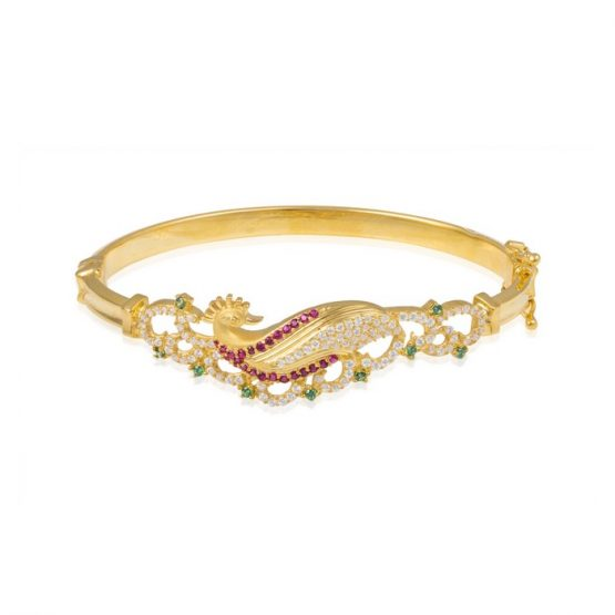 Ladies Clasp Bangle – Peacock Design 22ct Yellow Gold With CZ Stones 09
