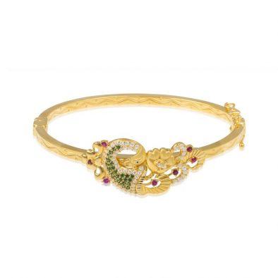 Ladies Clasp Bangle – Peacock Design 22ct Yellow Gold With CZ Stones 10