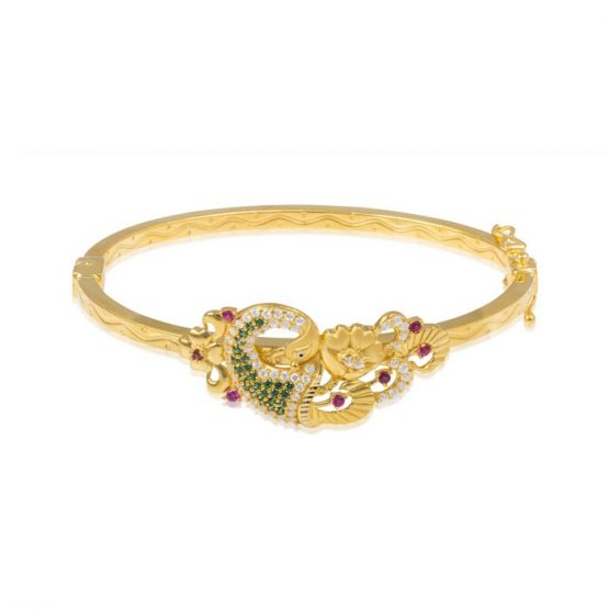 Ladies Clasp Bangle – Peacock Design 22ct Yellow Gold With CZ Stones 10