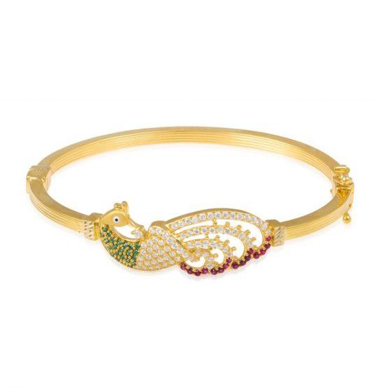Ladies Clasp Bangle – Peacock Design 22ct Yellow Gold With CZ Stones 11