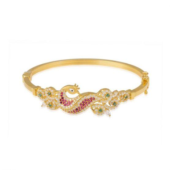 Ladies Clasp Bangle – Peacock Design 22ct Yellow Gold With CZ Stones 12