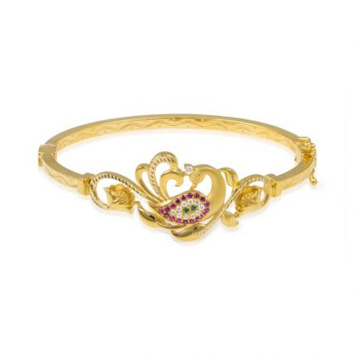 Ladies Clasp Bangle – Peacock Design 22ct Yellow Gold With CZ Stones 02