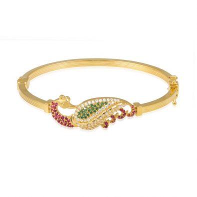 Ladies Clasp Bangle – Peacock Design 22ct Yellow Gold With CZ Stones 03