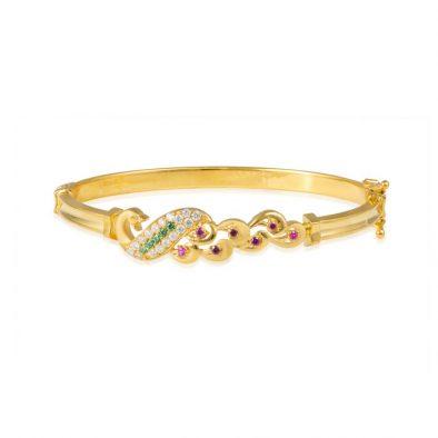 Ladies Clasp Bangle – Peacock Design 22ct Yellow Gold With CZ Stones 04