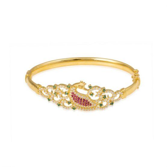 Ladies Clasp Bangle – Peacock Design 22ct Yellow Gold With CZ Stones 05