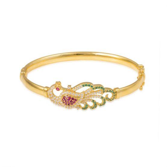 Ladies Clasp Bangle – Peacock Design 22ct Yellow Gold With CZ Stones 06