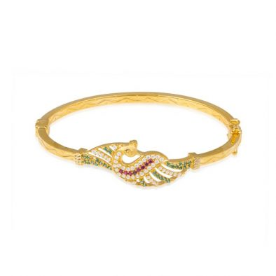 Ladies Clasp Bangle – Peacock Design 22ct Yellow Gold With CZ Stones 07