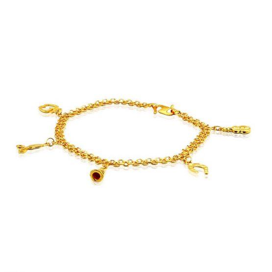 Ladies Charm Bracelet 22ct Yellow Gold 01