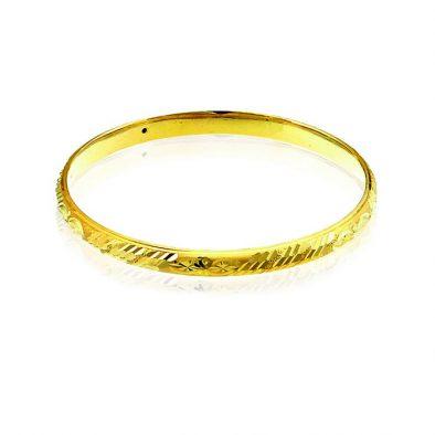 Ladies Hollow Bangle 22ct Yellow Gold 02