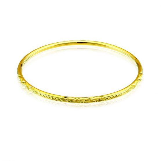 Ladies Hollow Bangle 22ct Yellow Gold 06
