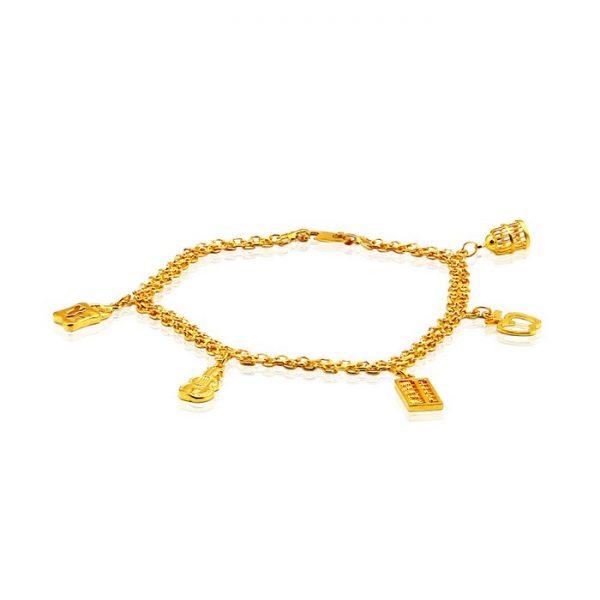 Ladies Charm Bracelet 22ct Yellow Gold 02