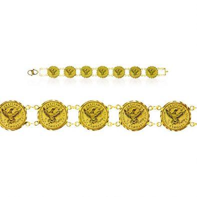 Ladies Bracelet - Eagle Coin Design 22ct Yellow Gold 02