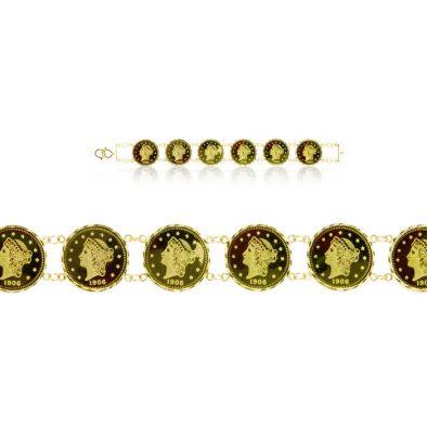 Ladies Bracelet – Queen Coin Design 22ct Yellow Gold 03