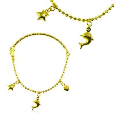 Ladies Charm Bracelet 22ct Yellow Gold 03