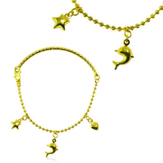 Ladies Charm Bracelet 22ct Yellow Gold 03