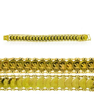 Ladies Bracelet - Eagle/Queen - Coin Design (Double sided) 22ct Yellow Gold 01