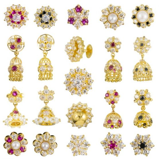 22ct Yellow Gold Earrings With CZ Stones Bundle 01