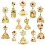 22ct Yellow Gold Earrings - Jhumka Style with CZ Stones Bundle 01 1
