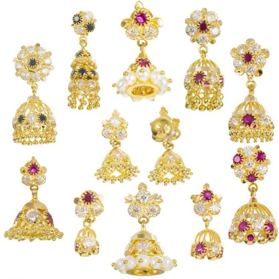 22ct Yellow Gold Earrings - Jhumka Style with CZ Stones Bundle 01