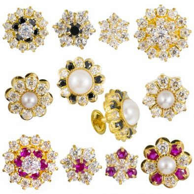 22ct Yellow Gold Stud Earrings With CZ Stones Bundle 01