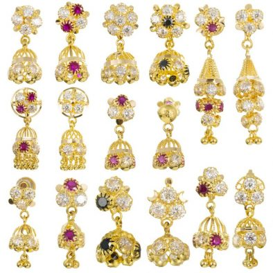 22ct Yellow Gold Earrings - Jhumka Style with CZ Stones Bundle 02