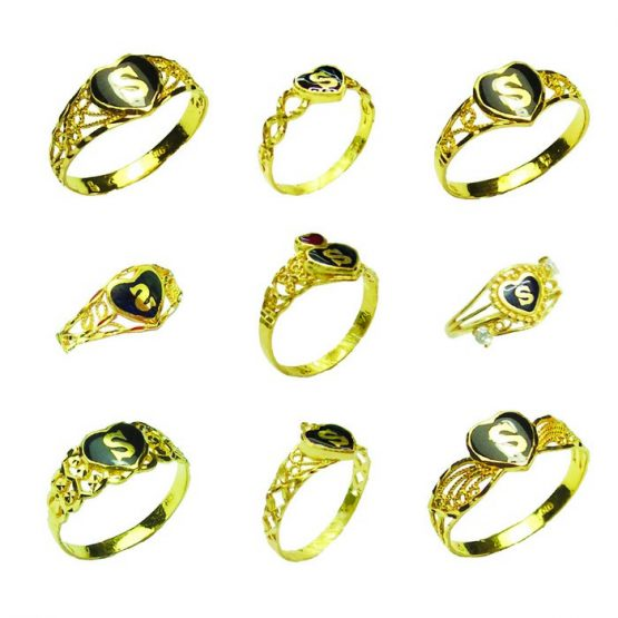 22ct Yellow Gold & Enamel Ladies Rings – Mixed Heart Shape Designs / Initials Bundle 01
